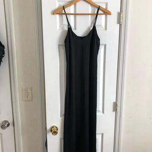 Forever 21 Black Satin Maxi Slip Cami Dress XS